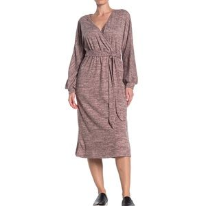 Lush l XS Belted Mock Wrap Midi Dress